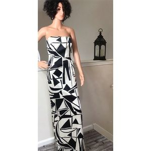 David Meister, Black and white strapless dress